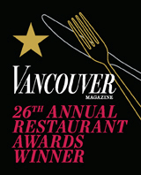 Vancouver Magazine 2015 Restaurant Award winner