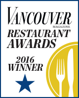 Vancouver Magazine 2016 Restaurant Award winner